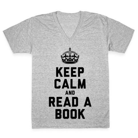 Keep Calm and Read a Book V-Neck Tee Shirt
