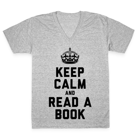 Keep Calm and Read a Book V-Neck Tee Shirt