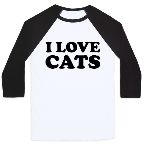 I Love Cats Baseball Tee