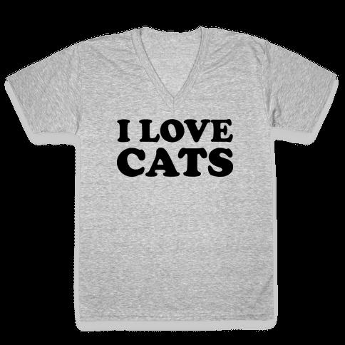 I Love Cats V-Neck Tee Shirt
