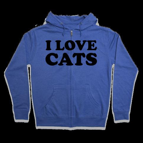 I Love Cats Zip Hoodie