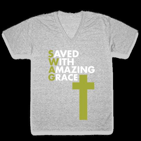 Swag Jesus Swag V-Neck Tee Shirt