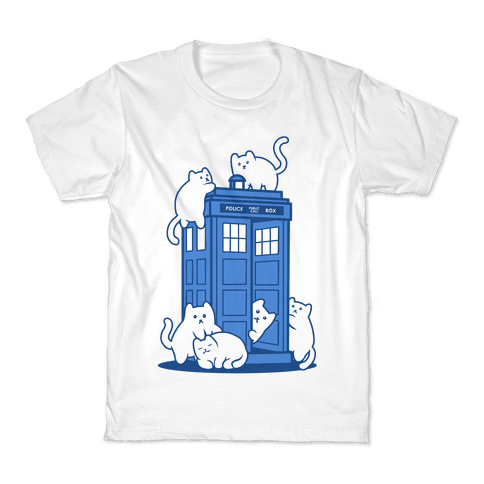 Catipose and the Tardis Kids T-Shirt