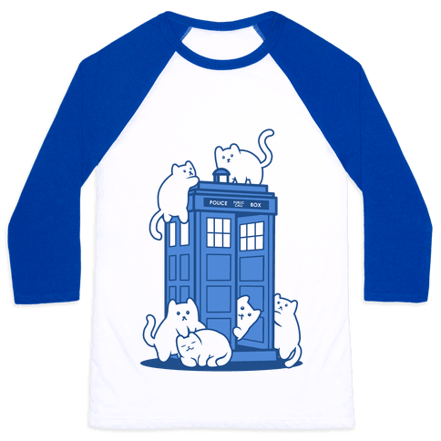 Catipose and the Tardis Baseball Tee