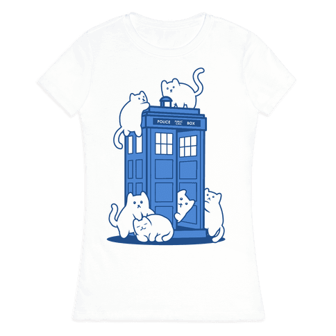 Catipose and the Tardis Womens T-Shirt