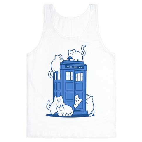 Catipose and the Tardis Tank Top