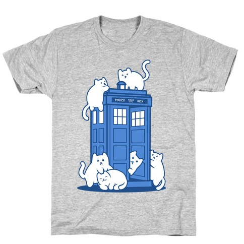 Catipose and the Tardis T-Shirt