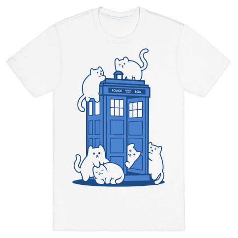 Catipose and the Tardis Mens T-Shirt
