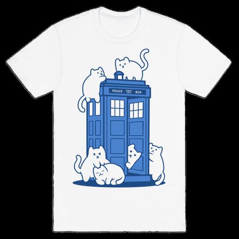 Catipose and the Tardis Mens T-Shirt