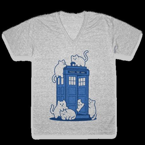 Catipose and the Tardis V-Neck Tee Shirt