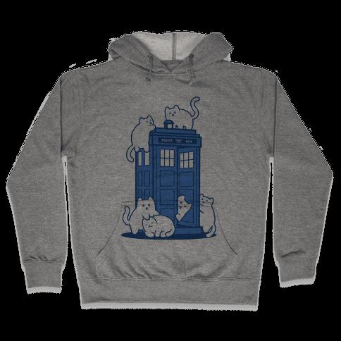 Catipose and the Tardis Hooded Sweatshirt