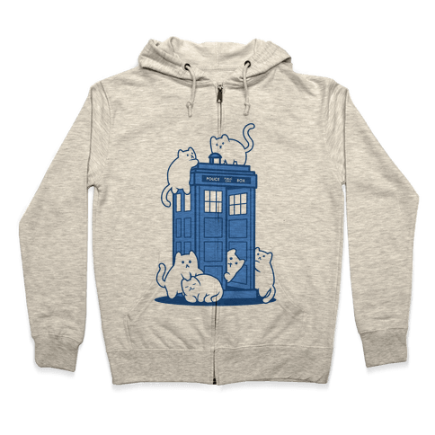 Catipose and the Tardis Zip Hoodie