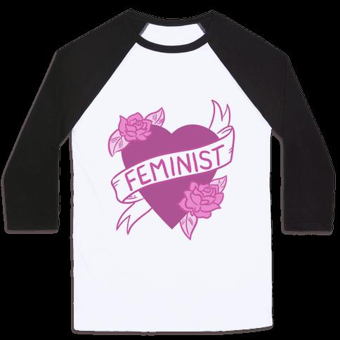Feminist Heart Baseball Tee
