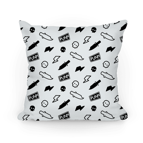 Black and White Rebel Punk Pattern Pillow
