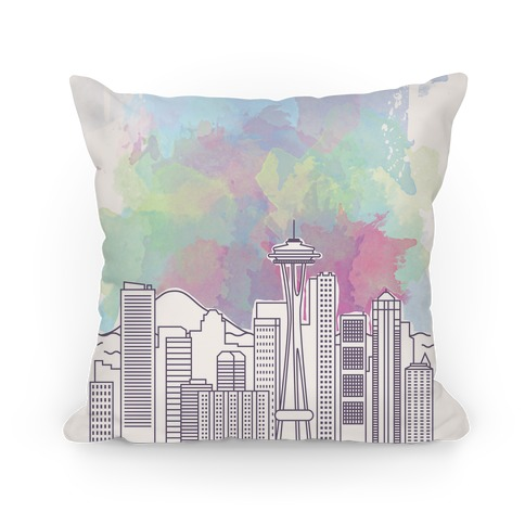 Seattle Graphic Watercolor Cityscape Pillow