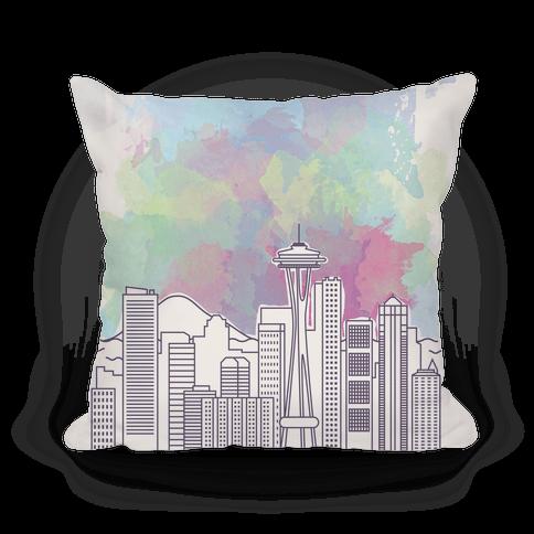 Seattle Graphic Watercolor Cityscape