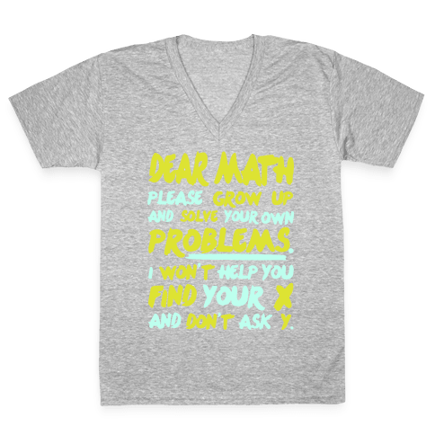 Dear Math V-Neck Tee Shirt