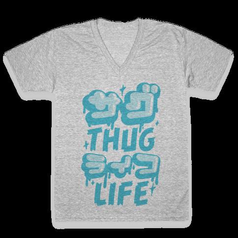 Thug Life (Japanese Katakana) V-Neck Tee Shirt