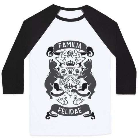 Cat Family Crest: Familia Felidae Baseball Tee