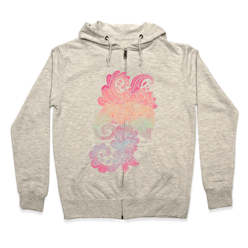 Rainbow Lotus Henna Inspiration Zip Hoodie