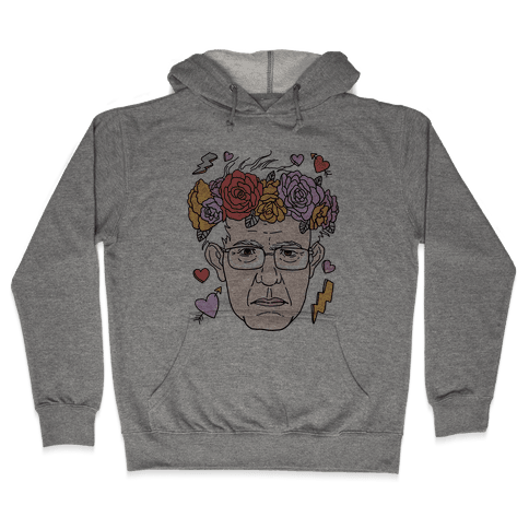 Bernie With Flower Crown Hooded Sweatshirt