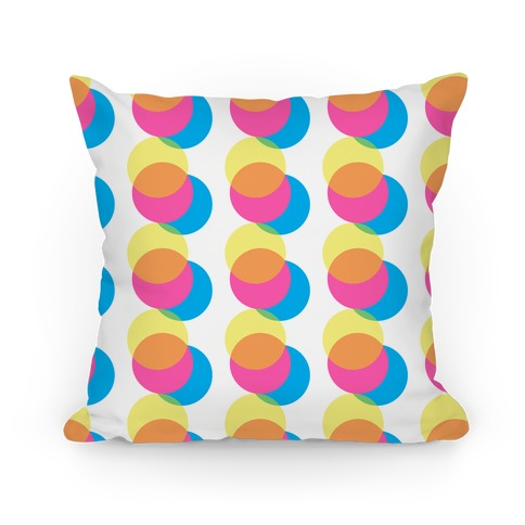 Cyan Magenta Yellow Big Polka Dot Pattern Pillow