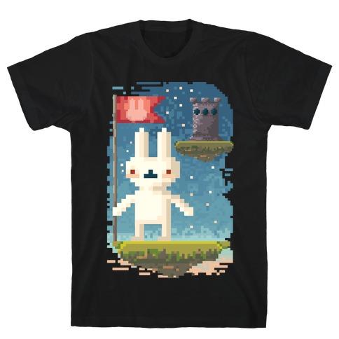 Pixel Bunny Plants Flag T-Shirt