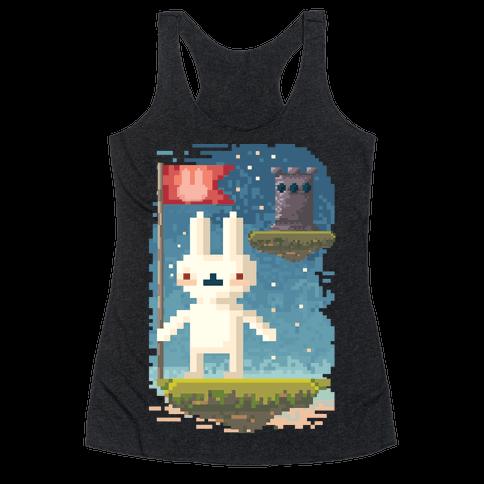 Pixel Bunny Plants Flag Racerback Tank Top