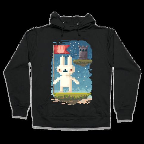 Pixel Bunny Plants Flag Hooded Sweatshirt