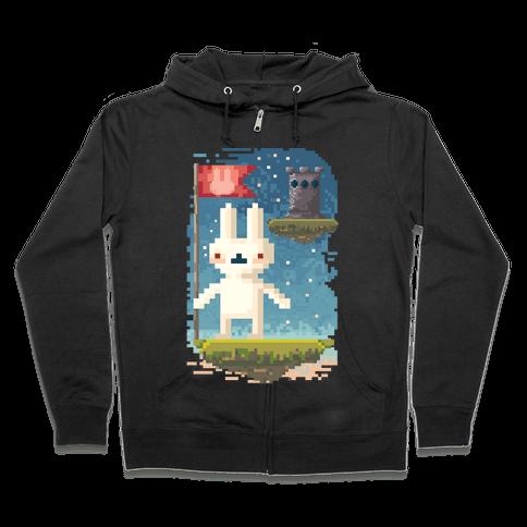 Pixel Bunny Plants Flag Zip Hoodie