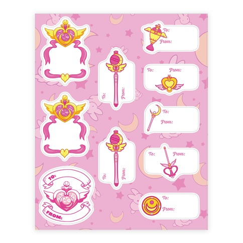 Magical Girl Gift Tags Sticker and Decal Sheet