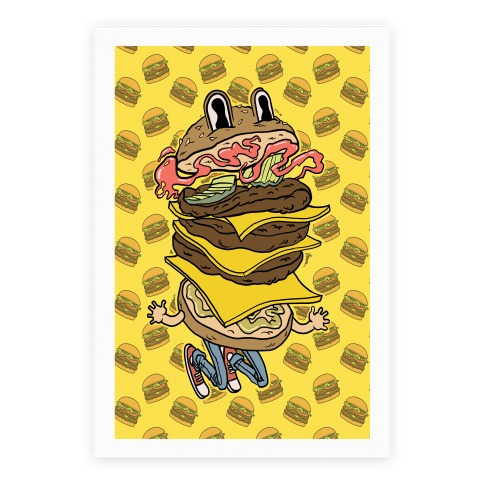 Triple Decker Burger Dude Poster