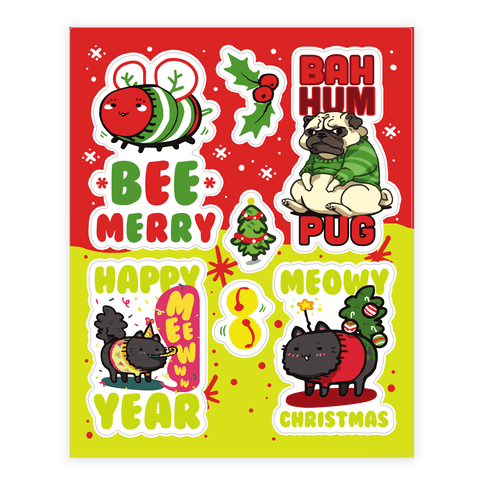 Cute Christmas  Sticker/Decal Sheet