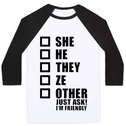 Pronoun Check List Baseball Tee