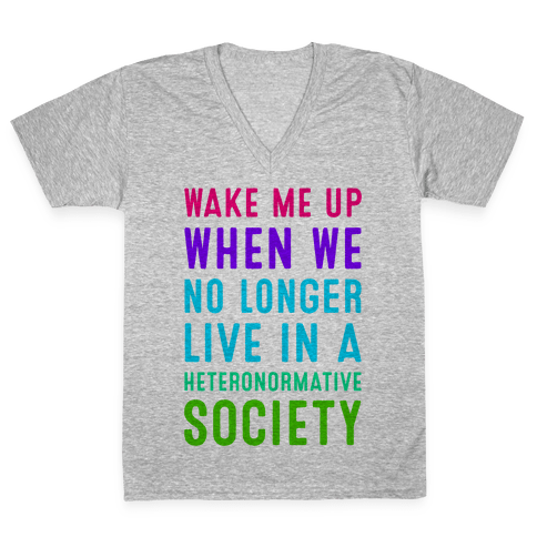 Wake Me up When We No Longer Live in a Heteronormative Society V-Neck Tee Shirt