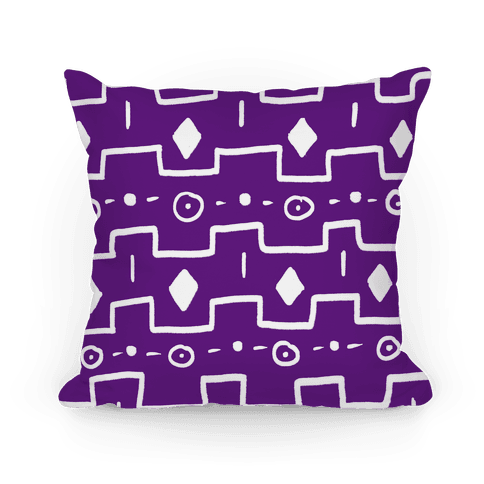 Purple Tribal Doodle Pattern Pillow