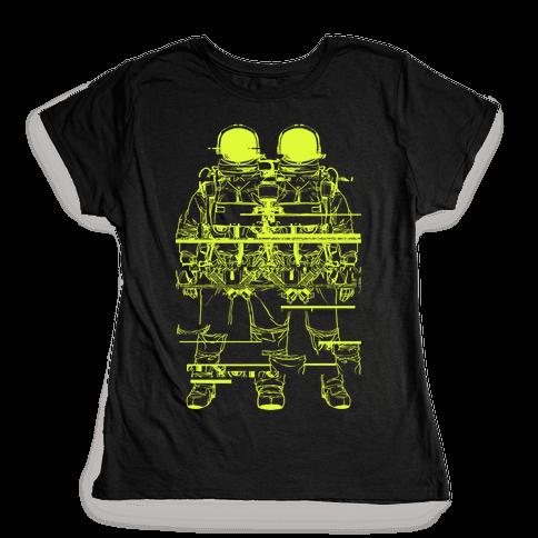 Twin Astronaut Glitch Womens T-Shirt