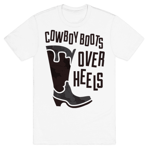 Cowboy Boots Over Heels Mens T-Shirt