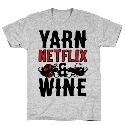 Yarn Netflix & Wine Mens T-Shirt