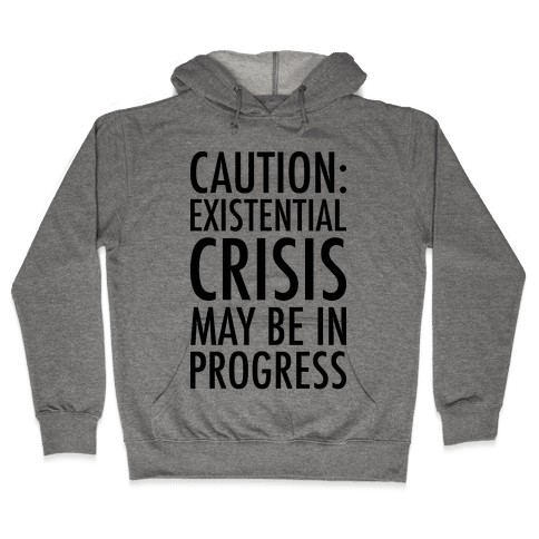 Caution: Existential Crisis May Be In Progress Hooded Sweatshirt