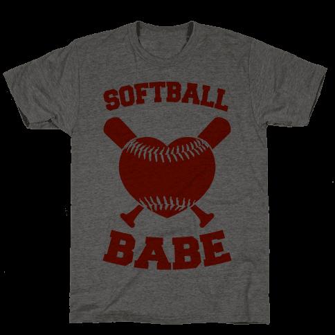 Softball Babe (red) Mens T-Shirt