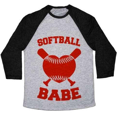 Softball Babe (red) Baseball Tee