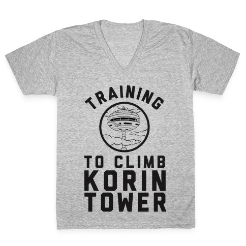 Training To Climb Korin Tower V-Neck Tee Shirt