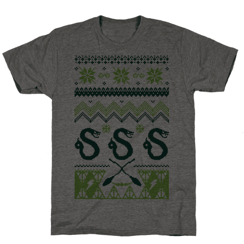 Hogwarts Ugly Christmas Sweater: Slytherin Mens T-Shirt