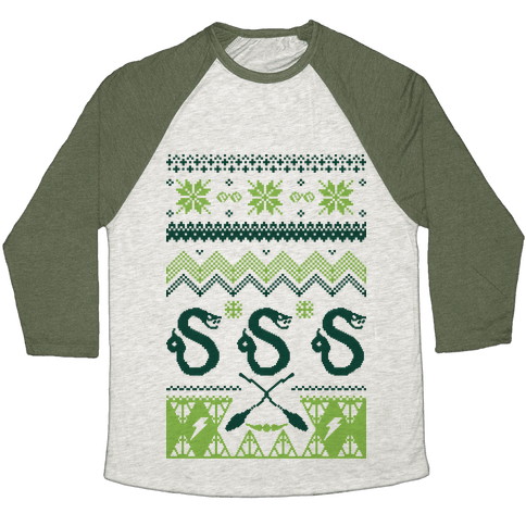 Hogwarts Ugly Christmas Sweater: Slytherin Baseball Tee