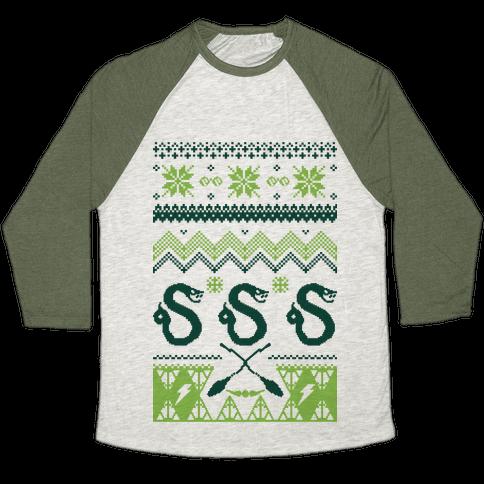 Hogwarts Ugly Christmas Sweater: Slytherin Baseball Tee