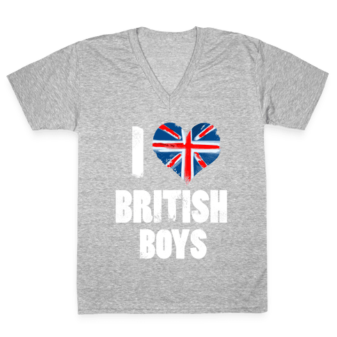 I (Heart) British Boys V-Neck Tee Shirt