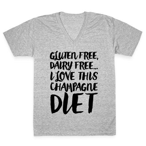 Champagne Diet V-Neck Tee Shirt