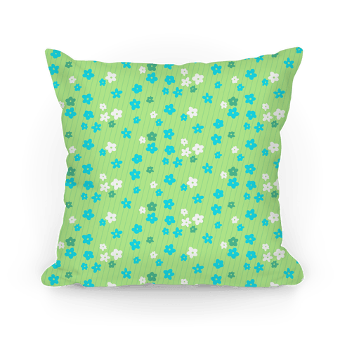 Little Floral Meadow Pattern (Lime Green) Pillow