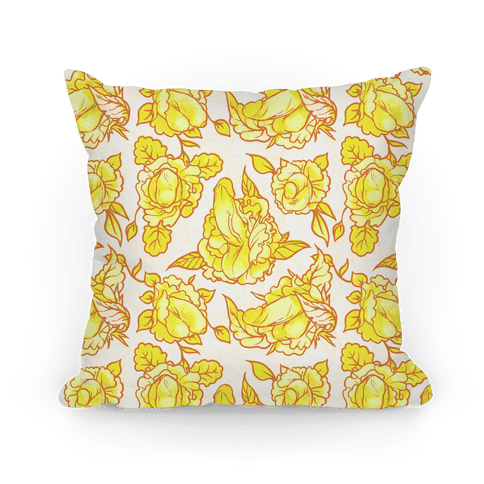 Floral Penis Pattern Yellow Pillow